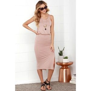 Lulus Beige Midi Dress